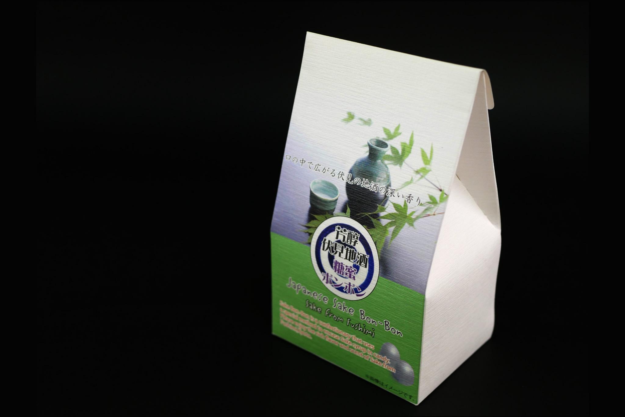 上尾製菓様 伏見地酒糖蜜ボンボンのパッケージ写真