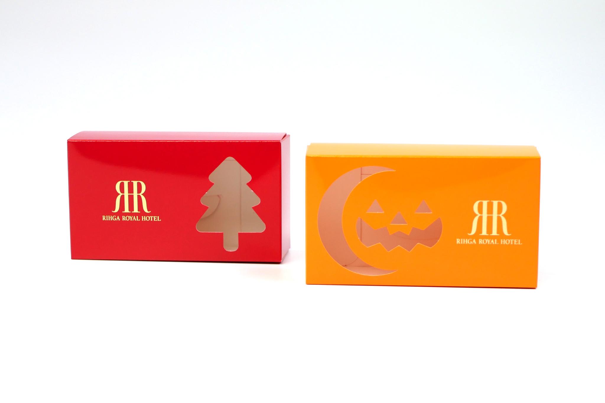 リーガロイヤルホテル様 ハロウィンクッキー、クリスマスクッキーのパッケージ写真です
